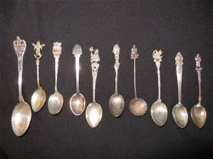 Collection of 10 Silver Souvenir Spoons