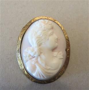 Antique 19th C. 14k Gold & Carved Angel-Skin Coral