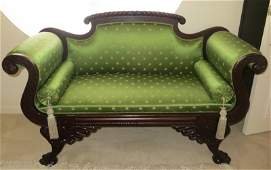 American Empire Carved Mahogany and Upholstered Settee