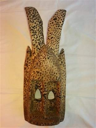 African Carved Wood Zoomorphic Mask with Spots
