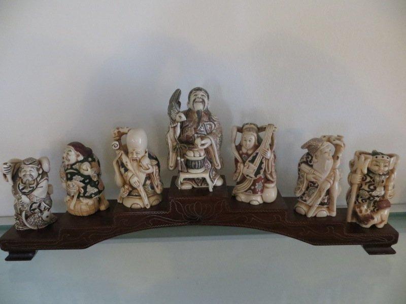 Set of Japanese Okimono Ivory Figures