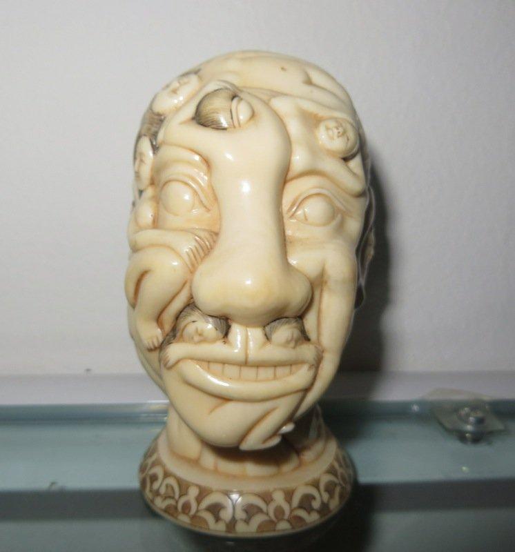 Erotic Carved Ivory Japanese Okimono Shunga Head