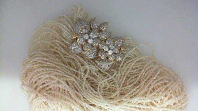 18kt Yellow Gold Set Diamond & Keshi Pearl Multi-Strand