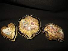 Three 19th C Sevres Style Paris Porcelain Trinket Boxes