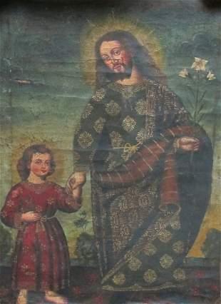 Cuzco School, Oil On Canvas