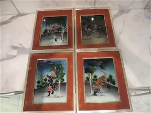 Four Antique Chinese Reverse Paintings on Glass