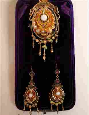 French Renaissance Revival 14k Brooch and Earrings