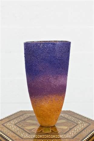 Schiavon Murano Purple and Yellow Vase, Signed