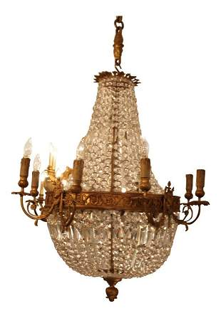 Fine French Gilt Bronze and Cut Glass 11 Light