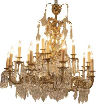 Fine Gilt Bronze and Cut Glass 24 Light French
