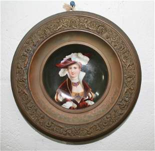 Porcelain Portrait Plate in Period Frame