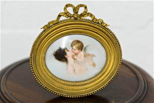 Hand Painted Limoges Plaque- Lady and Cherub