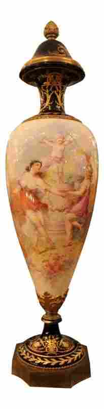 French Porcelain Vase & Cover With Sevres Mark