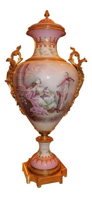Large Rose Pompadour Vase and Cover with Sevres Marks