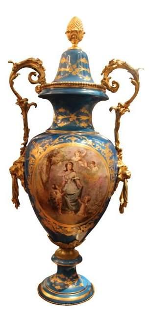Bleu-Celeste Porcelain Urn with Sevres Marks