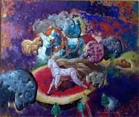 Juan Raul Machaca De Aquino, Oil On Canvas
