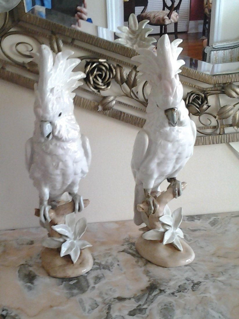 Two Royal Dux Porcelain Cockatoos