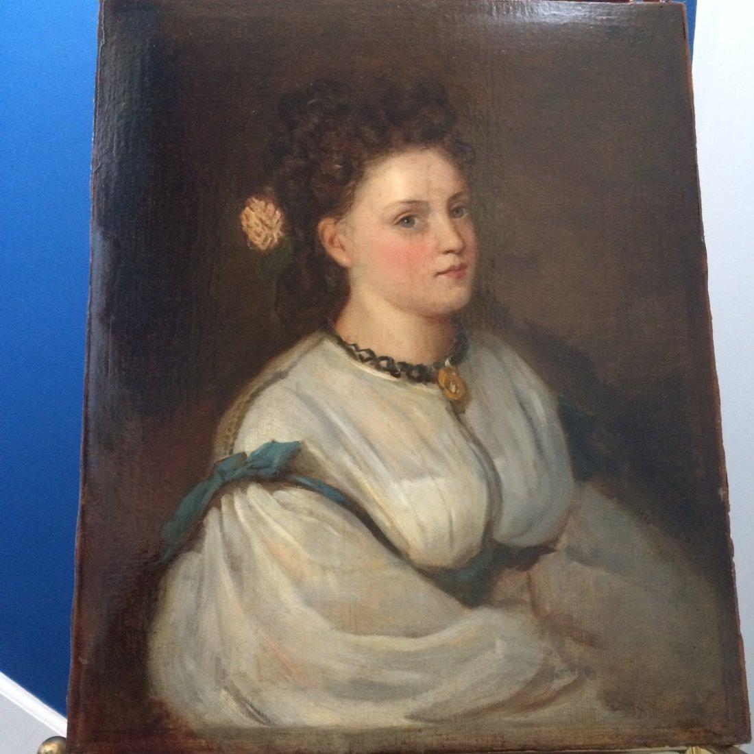 Portrait Signed Fantin. Oil on Canvas