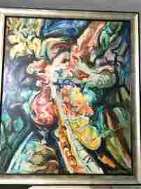 "Domingo Ravenet, ""Mascara Selvatica"", Oil on Canvas"
