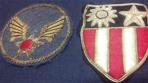 United States WW2 Army Air Corps Bullion CBI Patch Set