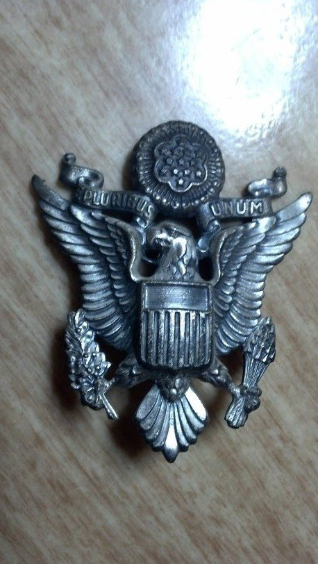 Large Silver American Military Hat Insignia