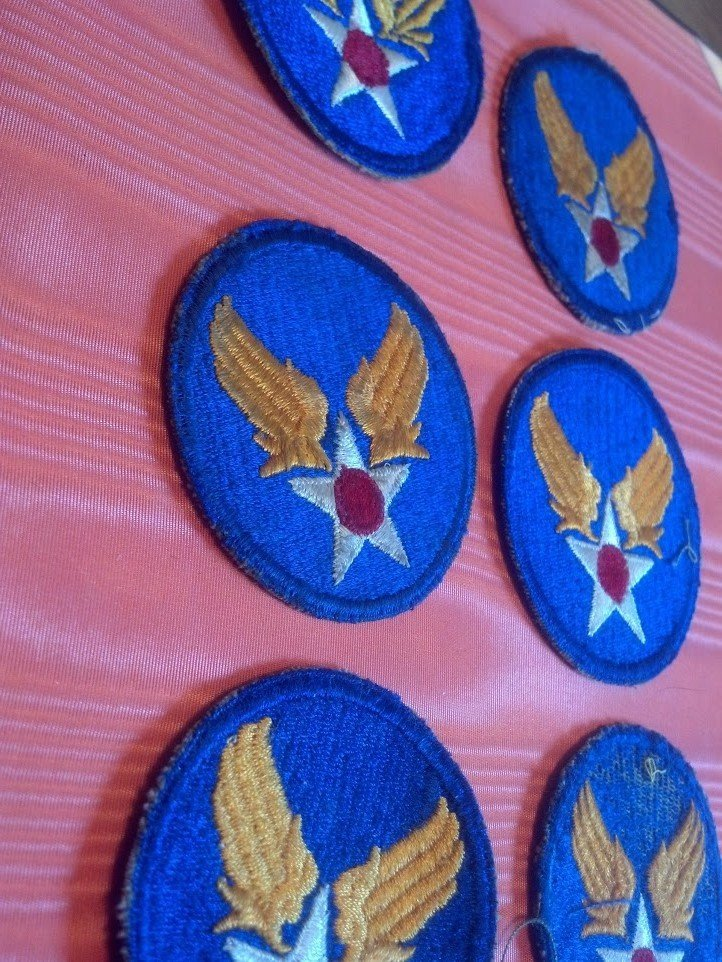 Six USAAF Army Air Corps U.S. WW2 Patches