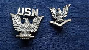 United States Navy WWI WW2 Era Eagle Insignia Silver