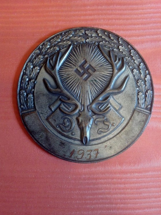 Beautiful Nazi 1937 Hunting Plaque Silver Washed Copper