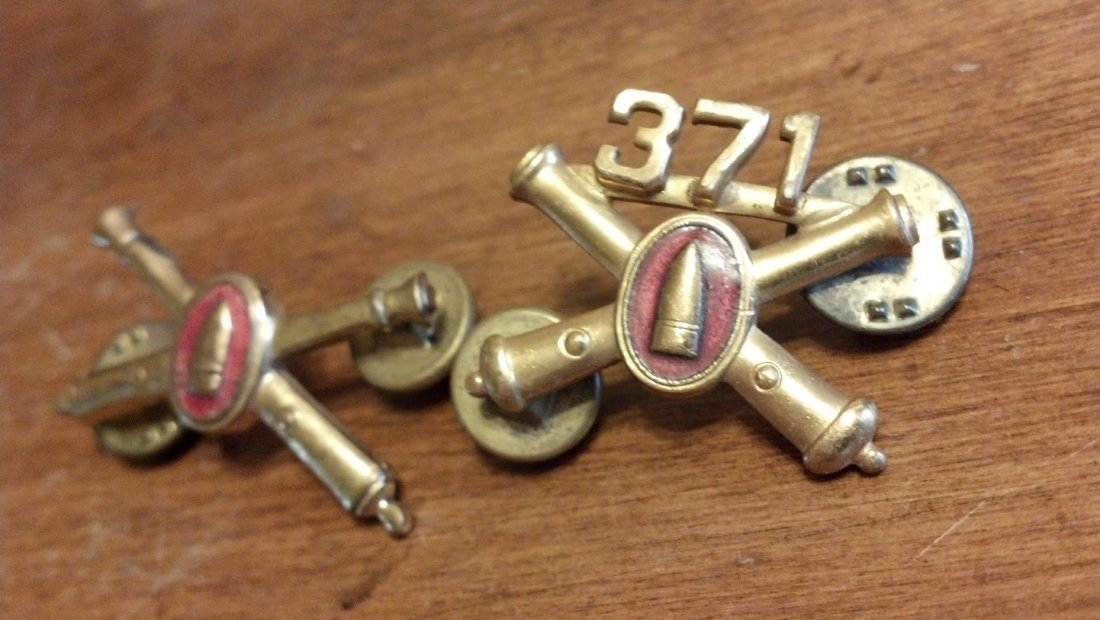 371st Artillery Pins U.S. Military Gold Washed