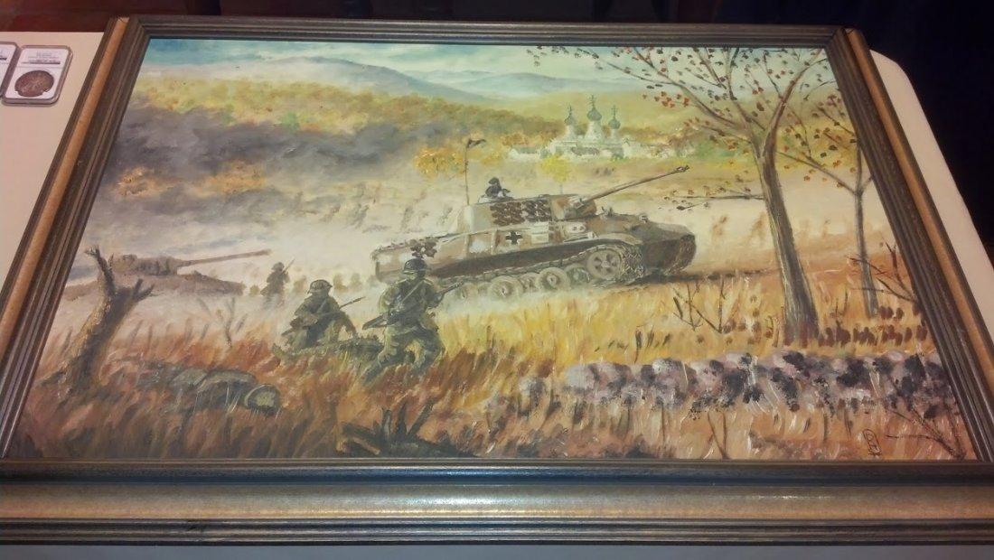 Beautiful German Panzer Tank Oil Painting