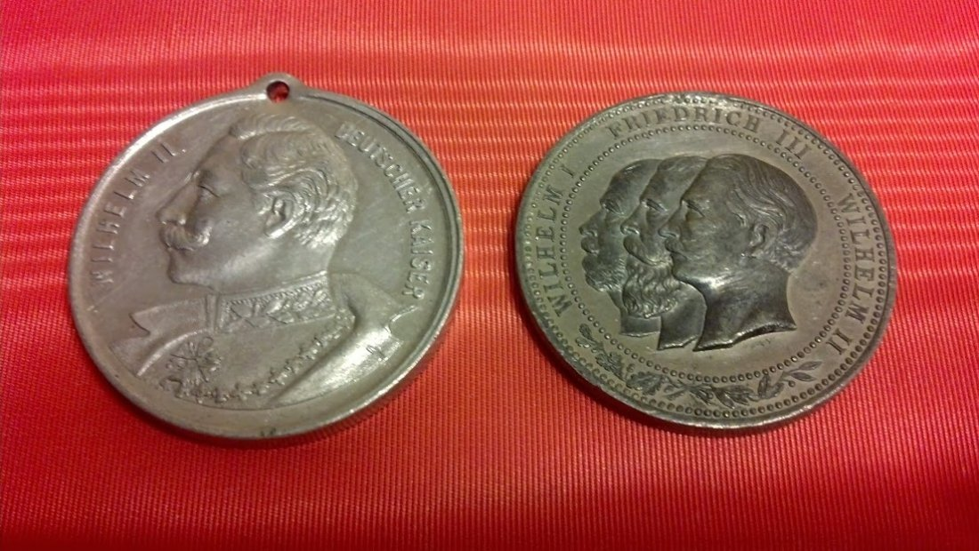 Two Aluminum German 1888 Dated Medallions pre WWI
