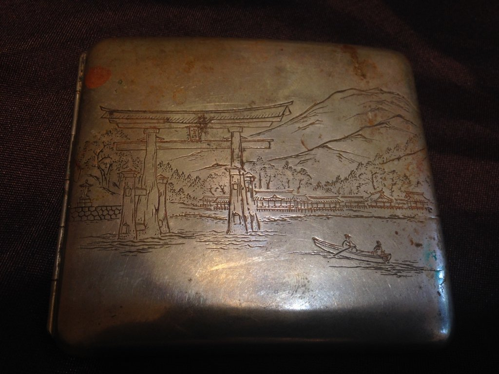 Silver Cigarette Case with Japanese Scene ETCHED!