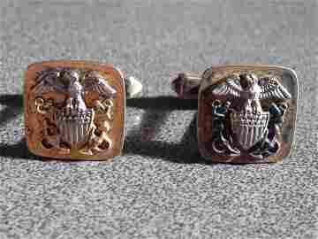 STERLING Silver United States Navy WW2 Cufflinks Cuff