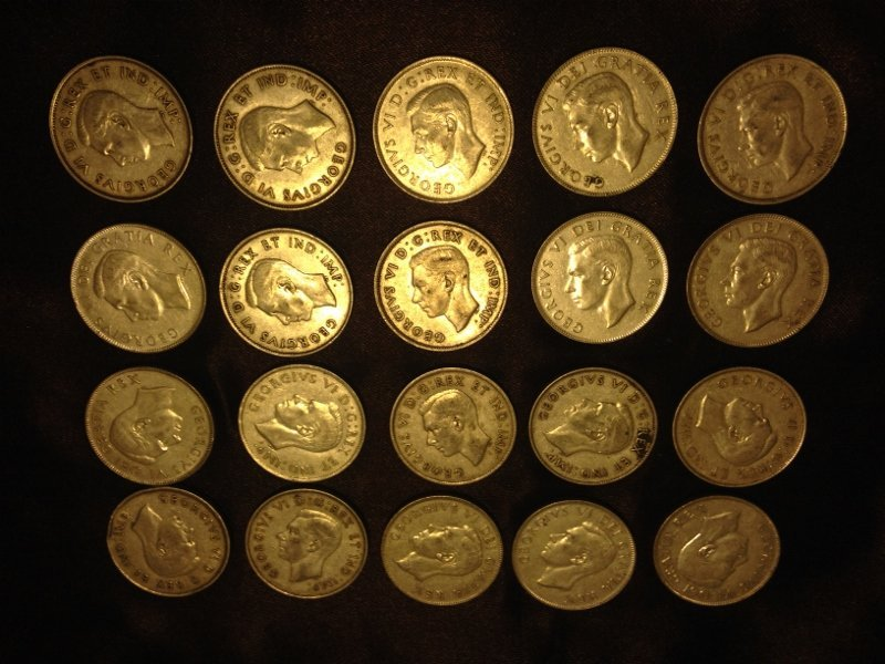 20 Silver Canadian Half Dollar Wartime Dates Rare!