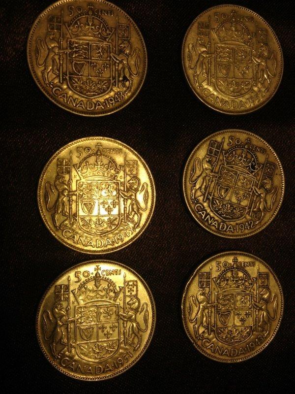 20 Silver Canadian Half Dollar Wartime Dates Rare! - 7