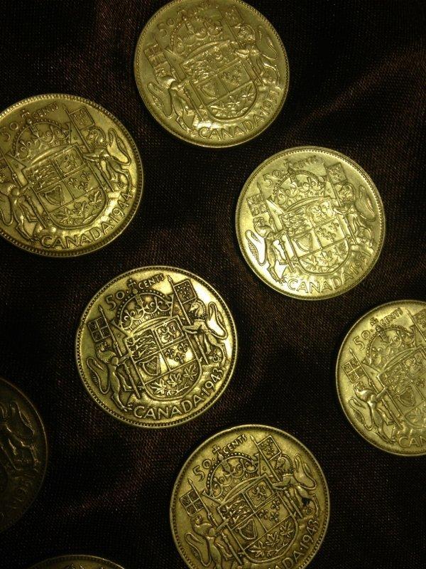 20 Silver Canadian Half Dollar Wartime Dates Rare! - 8