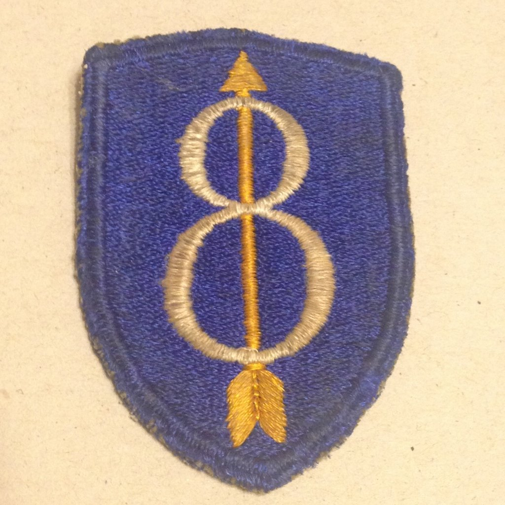 8th Infantry WW2 Patch Tunic Removed No Glow
