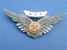 WW2 U.S. Navy Pilot Wings Sterling Silver Pin Back