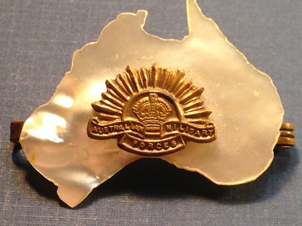 WW2 Mother of Pearl Australia Military Pin