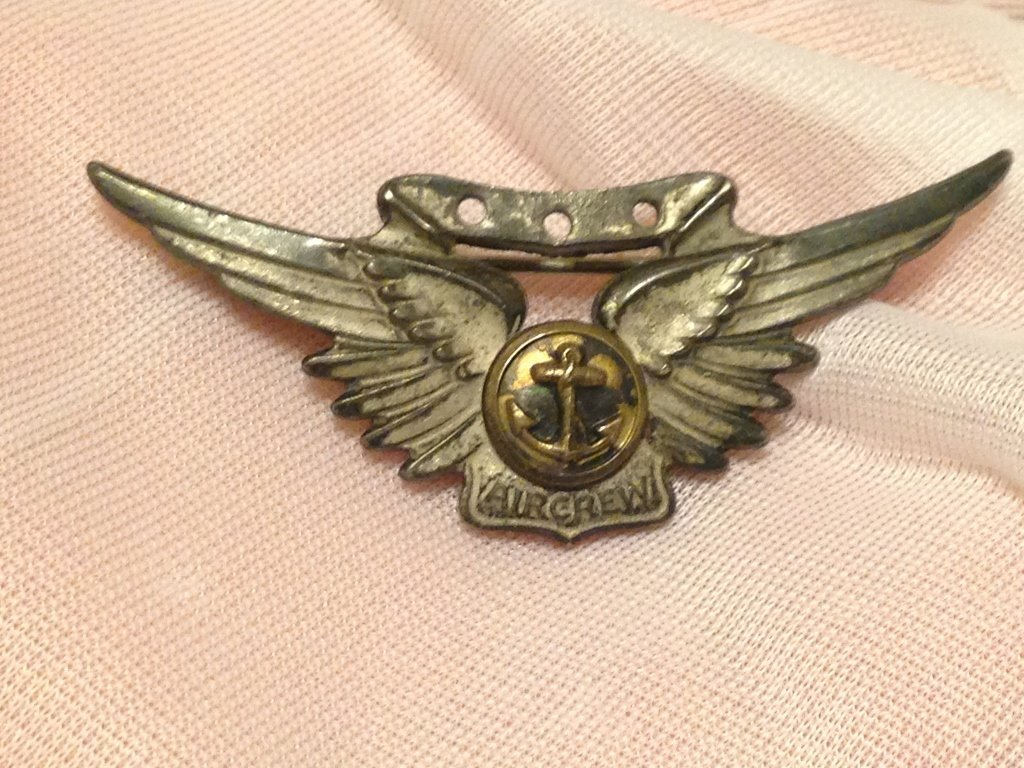 Sterling Silver AMICO Navy Air Crew Wings WW2