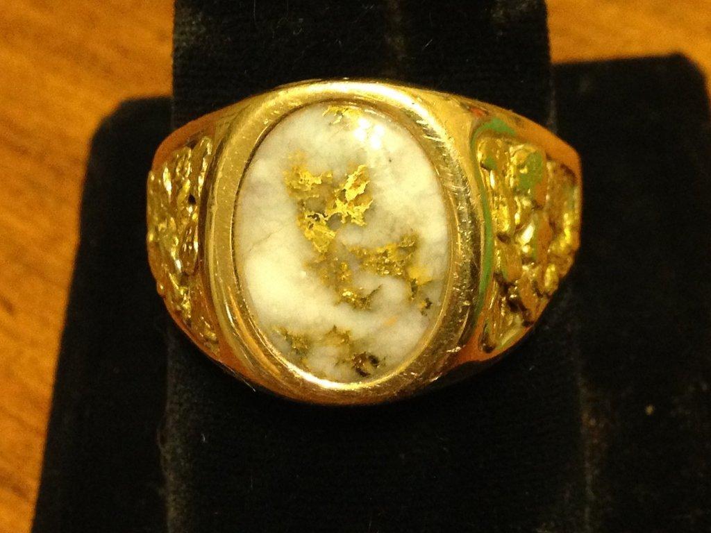 Beautiful 14k GOLD NUGGET Ring Gem Quartz Vein Rare !