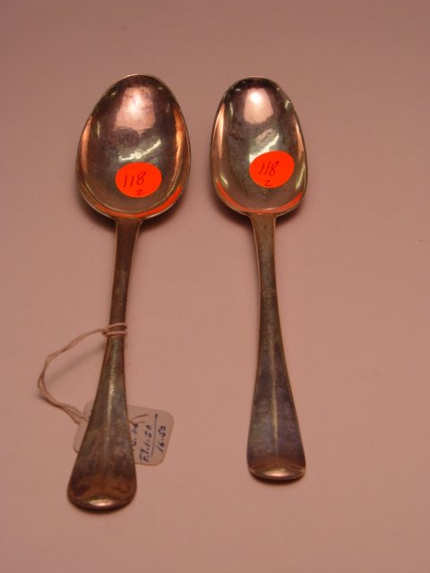 118: Two English Silver Spoons 18th Century