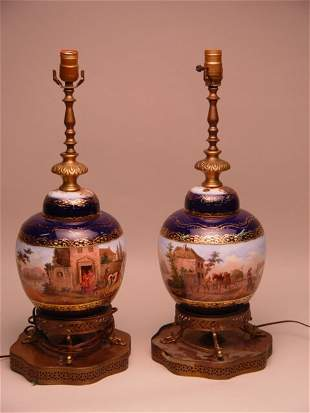 Pair of Porcelain Hand Painted Ginger Jar Lamps
