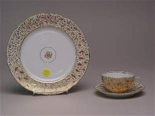 Continental Porcelain Enamel Docorated Dessert Se