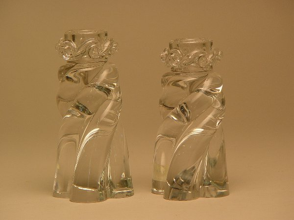 1004: Pair of Baccarat Crystal Candle Holders