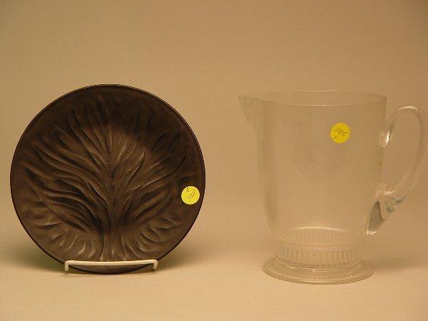 1005: Lalique Black Crystal Agla Plate