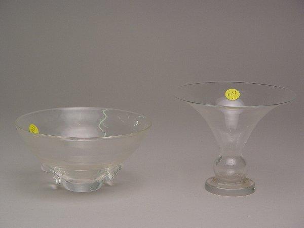 1007: 2pc Lot Steuben Vase & Bowl
