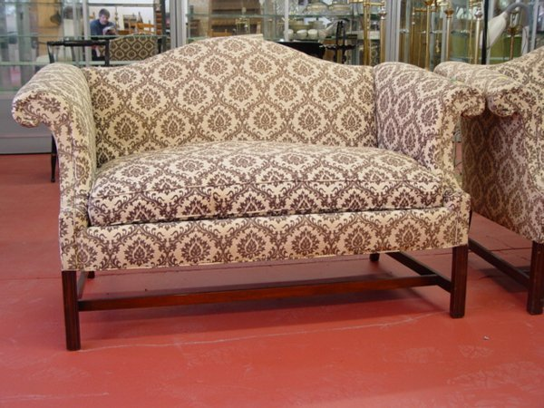 1405: Pair of Chippendale Style Upholstered Camel Back
