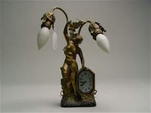 Art Nouveau Figural Lamp & Clock