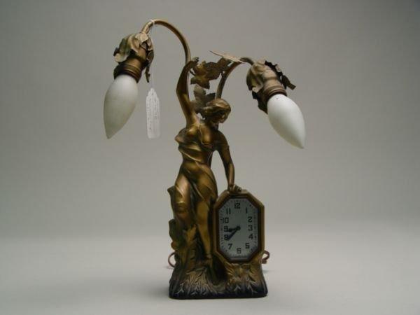 119: Art Nouveau Figural Lamp & Clock